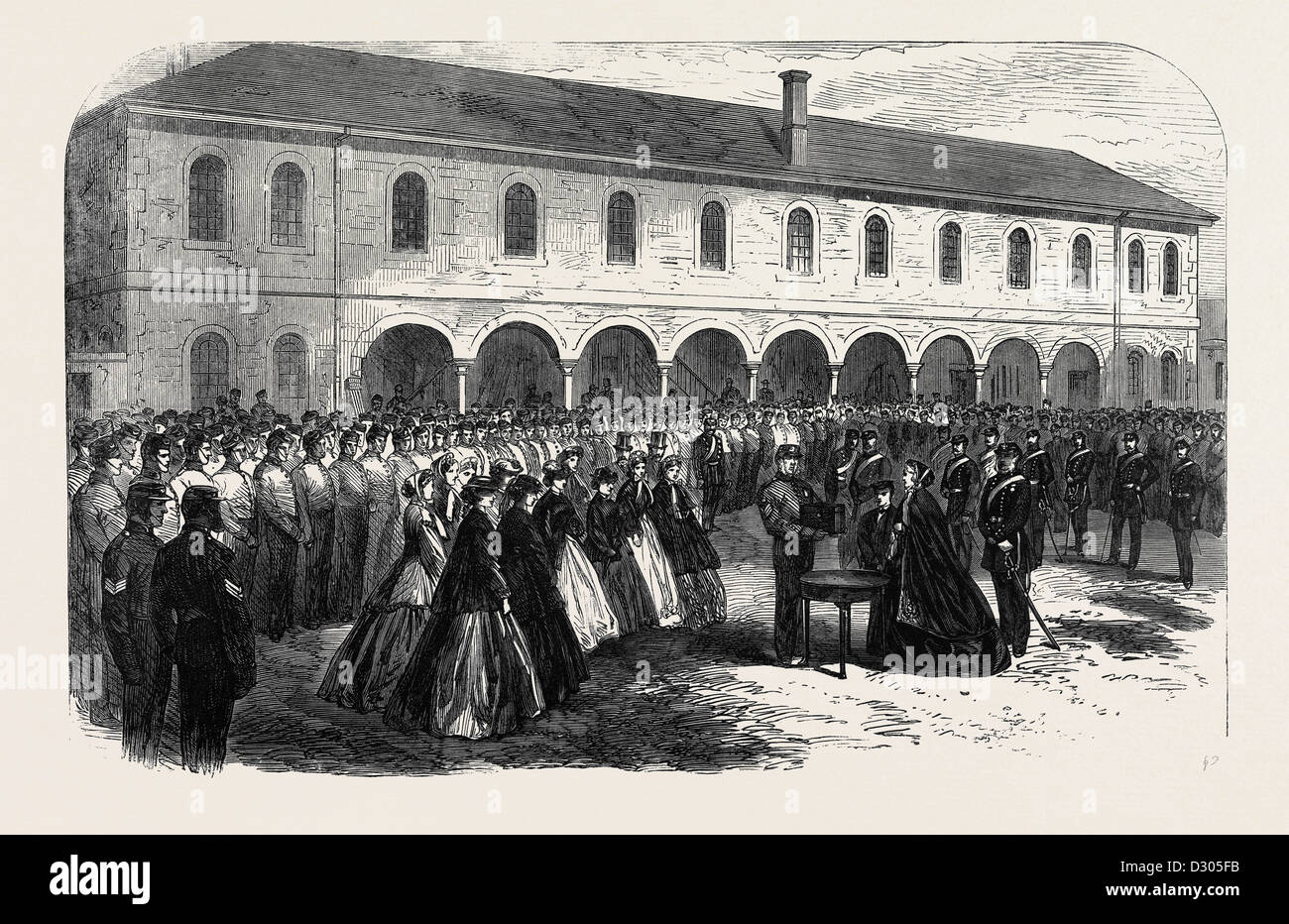 PRESENTATION TO MRS. COLONEL BINGHAM BY THE DORSET MILITIA UK 1866 - Stock Image