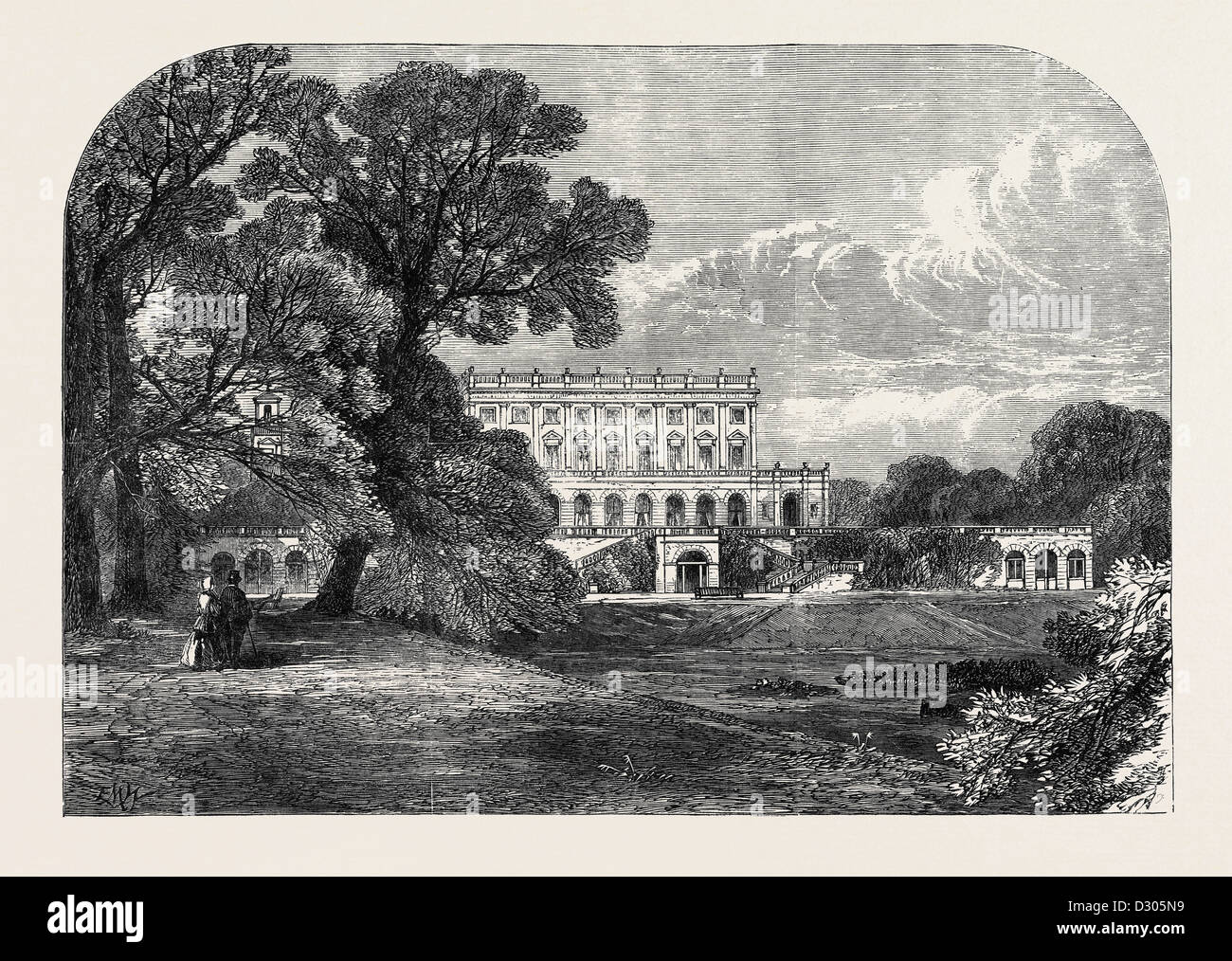 CLIEFDEN THE RESIDENCE OF THE DOWAGER DUCHESS OF SUTHERLAND VISITED BY THE QUEEN 1866 - Stock Image