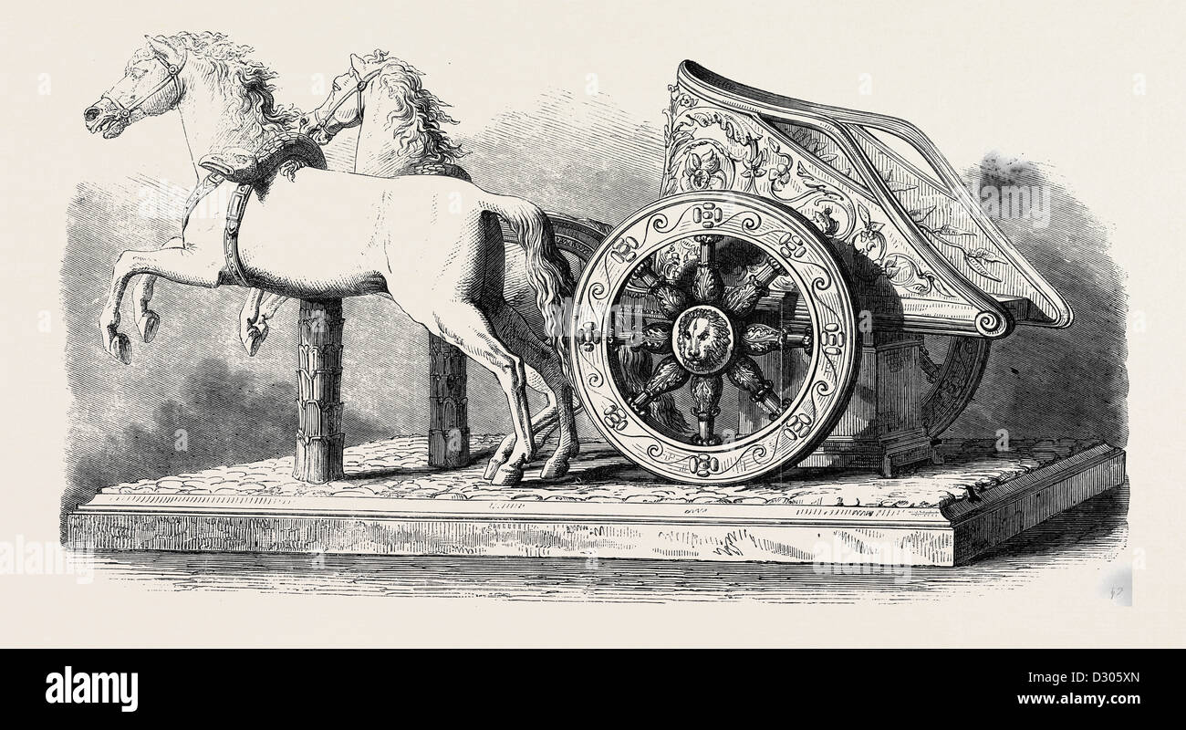 ROMAN CHARIOT AND HORSES 1866 - Stock Image