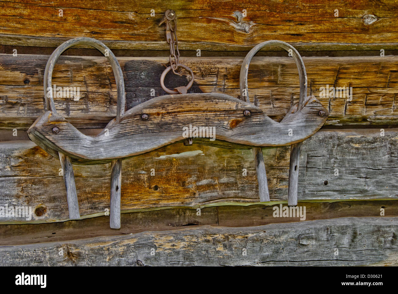 Yoke on exterior cabin wall at  Zebulon Baird Vance birthplace, a state historic site in Weaverville, North Carolina, - Stock Image