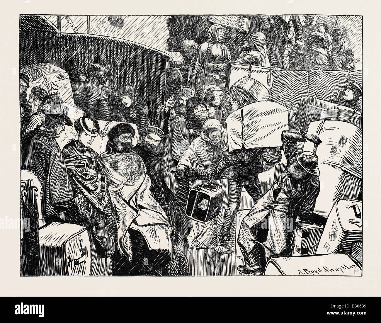 THE EMBARCATION ON A SHIP BOUND FOR AMERICA, 1870 - Stock Image