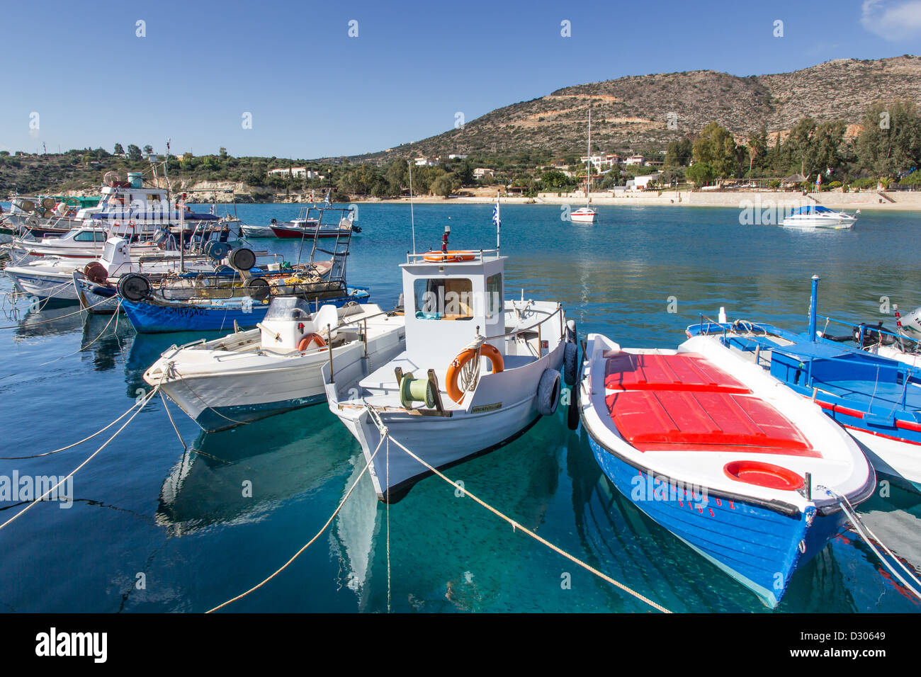 Fishing Boats in harbour at Marathi Crete greece - Stock Image