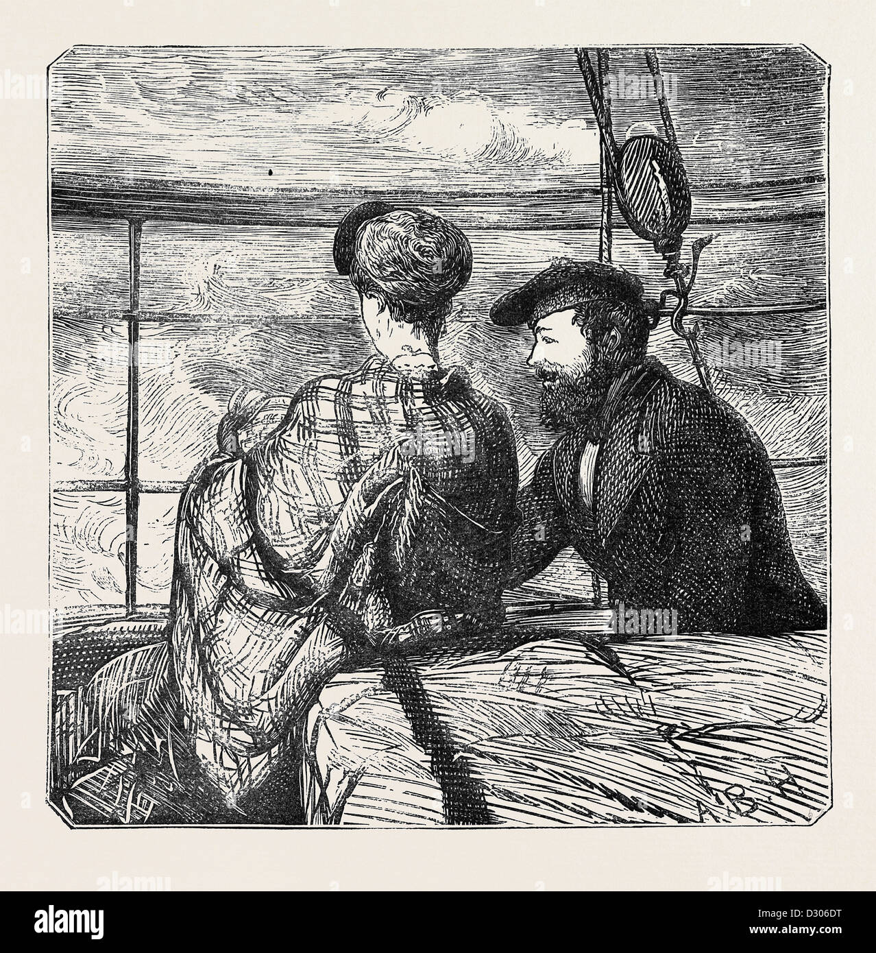 ON THE ATLANTIC STEAMER: MOONSHINE, 1870 - Stock Image