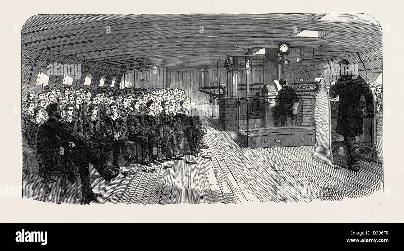 DIVINE SERVICE ON BOARD THE TRAINING SHIP INDEFATIGABLE AT LIVERPOOL UK 1866 - Stock Image