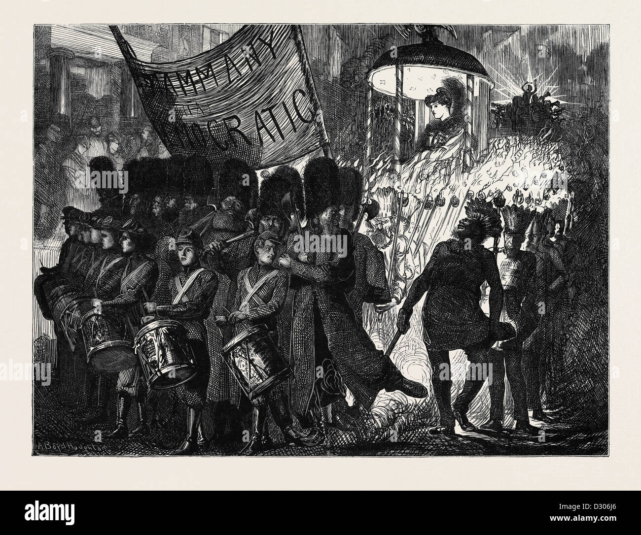 TAMMANY DEMOCRATIC PROCESSION IN NEW YORK, 1870 - Stock Image