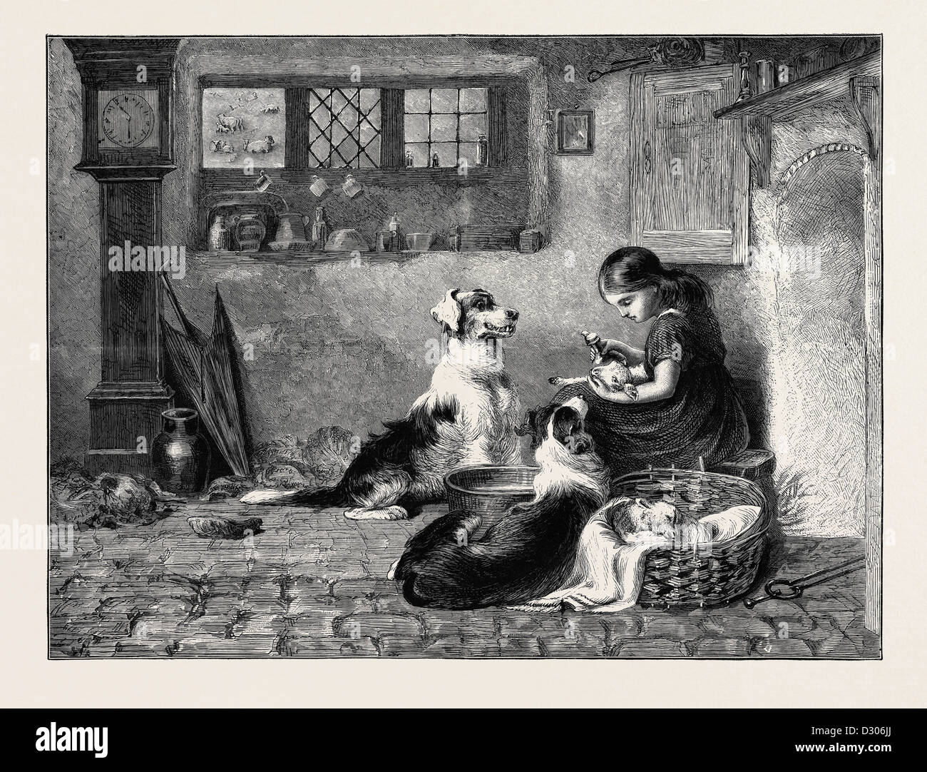 THE ORPHANS, A DRAWING BY BRITON RIVIERE IN THE DUDLEY GALLERY, 1870 Stock Photo