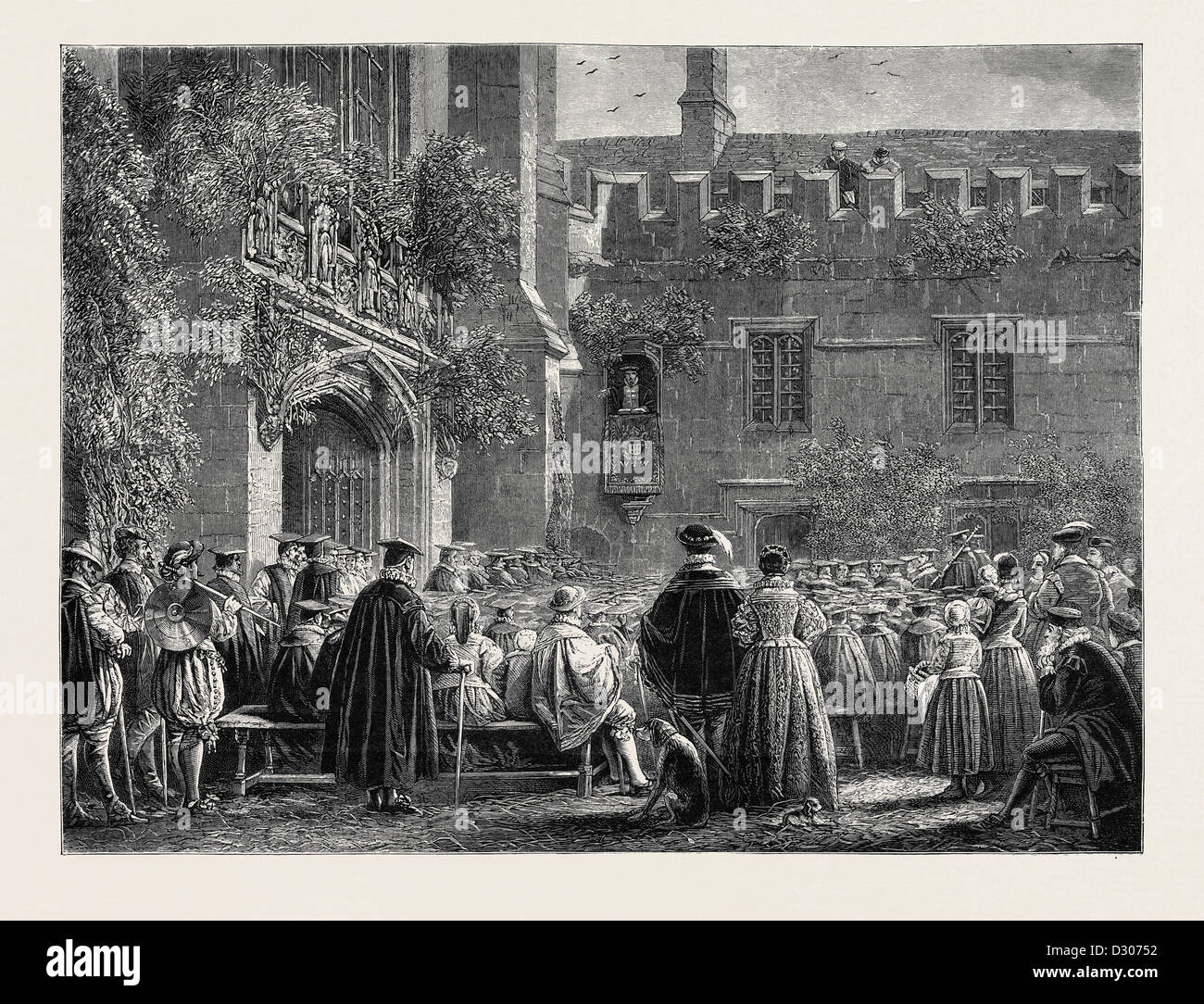 PALM SUNDAY AT OXFORD IN THE OLDEN TIME - Stock Image