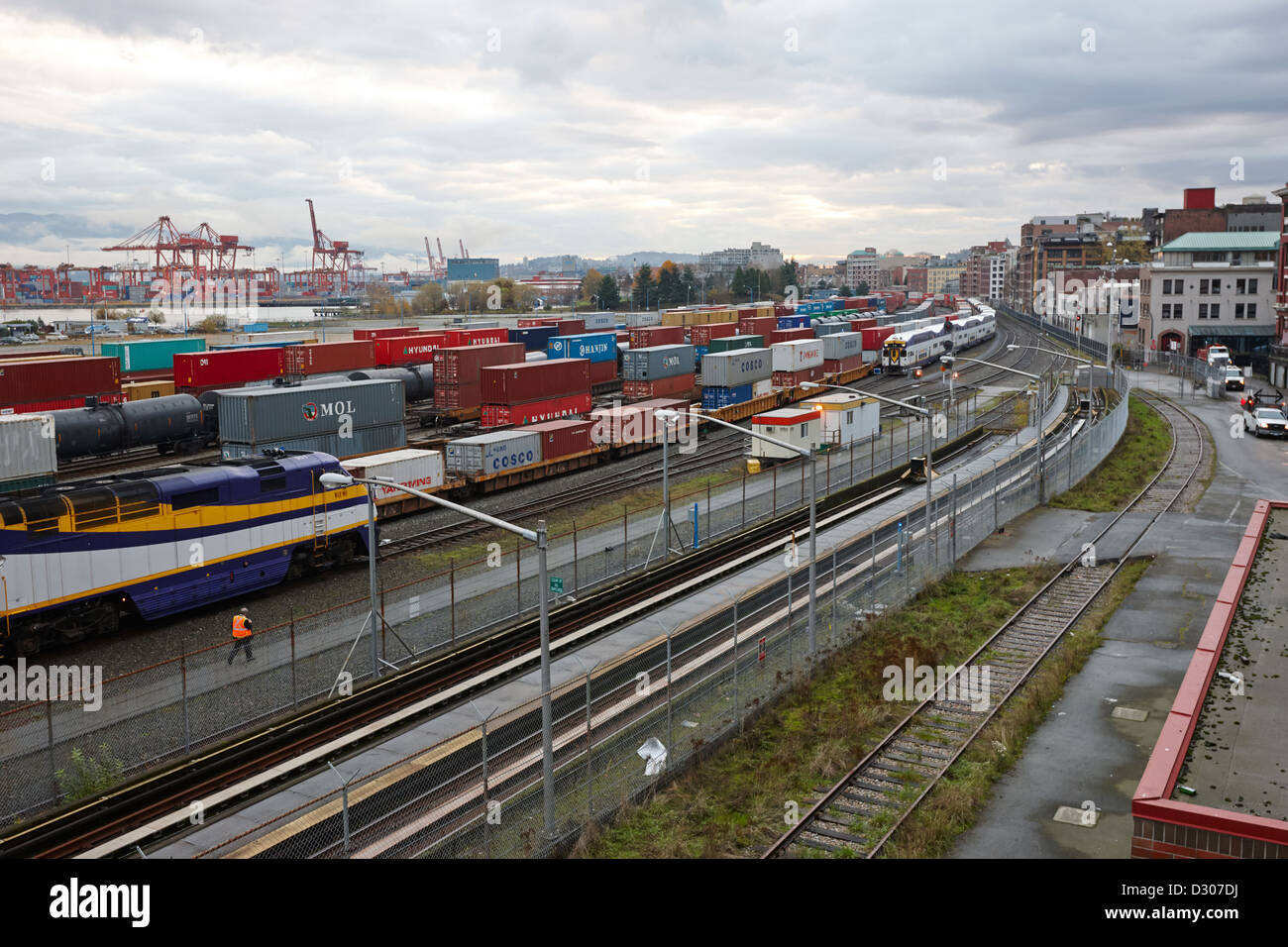 train tracks and freight terminal area of waterfront station Vancouver BC Canada - Stock Image