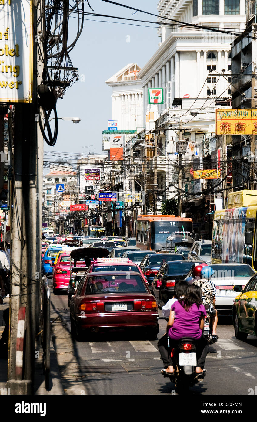 Bangkok street, Thailand - traffic in the heat of the day Stock Photo