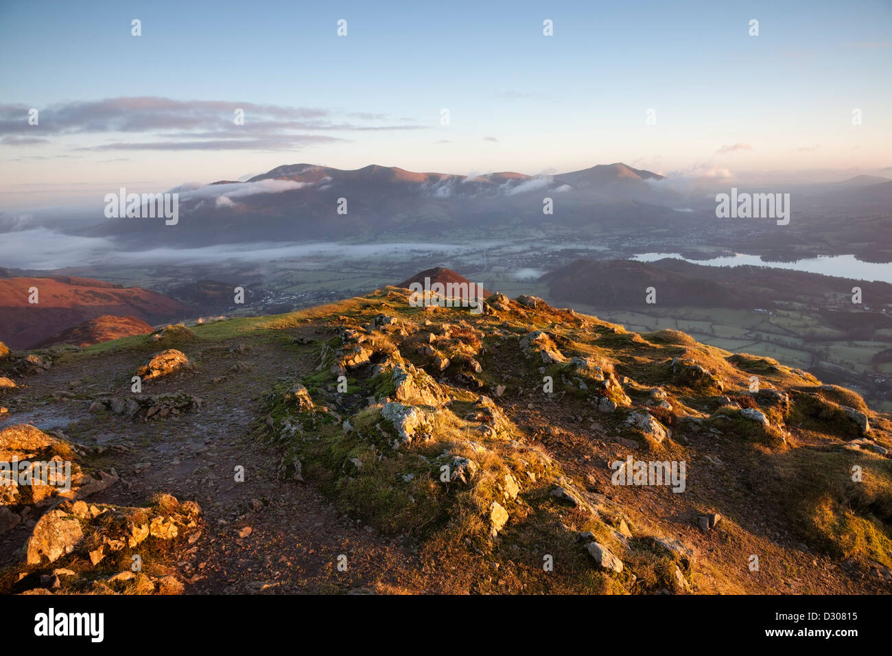 Skiddaw and Derwent Water From the Summit of Causey Pike in Early Morning Light Lake District Cumbria UK Stock Photo