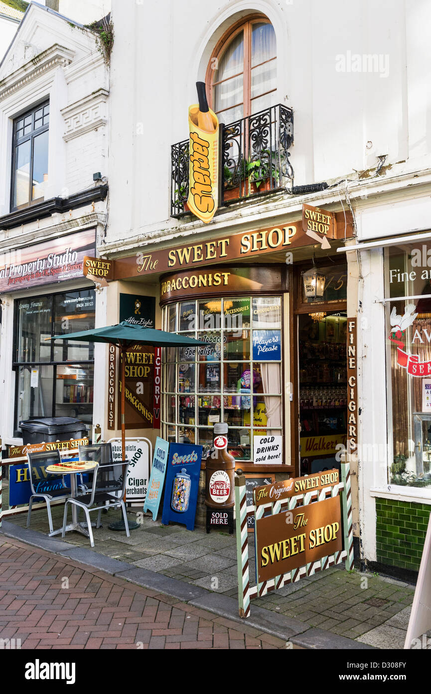 Sweet shop in Hastings old town, East Sussex, England, UK - Stock Image
