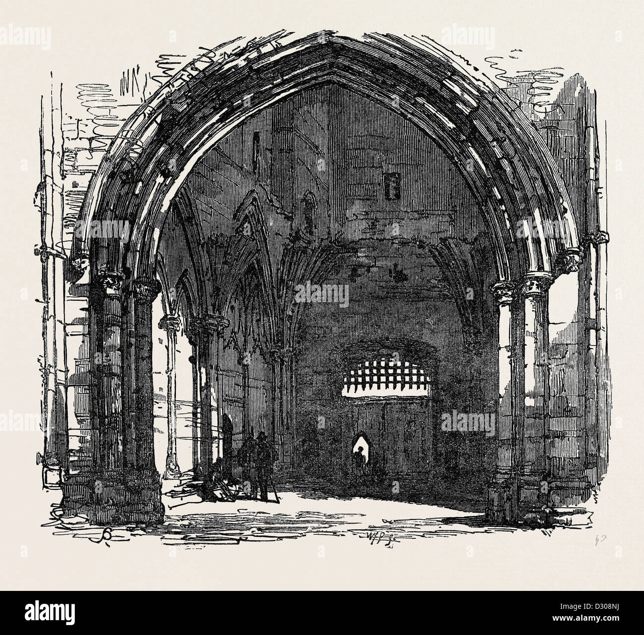 BURY ST. EDMUNDS: INTERIOR OF THE ABBEY GATE 1867 - Stock Image