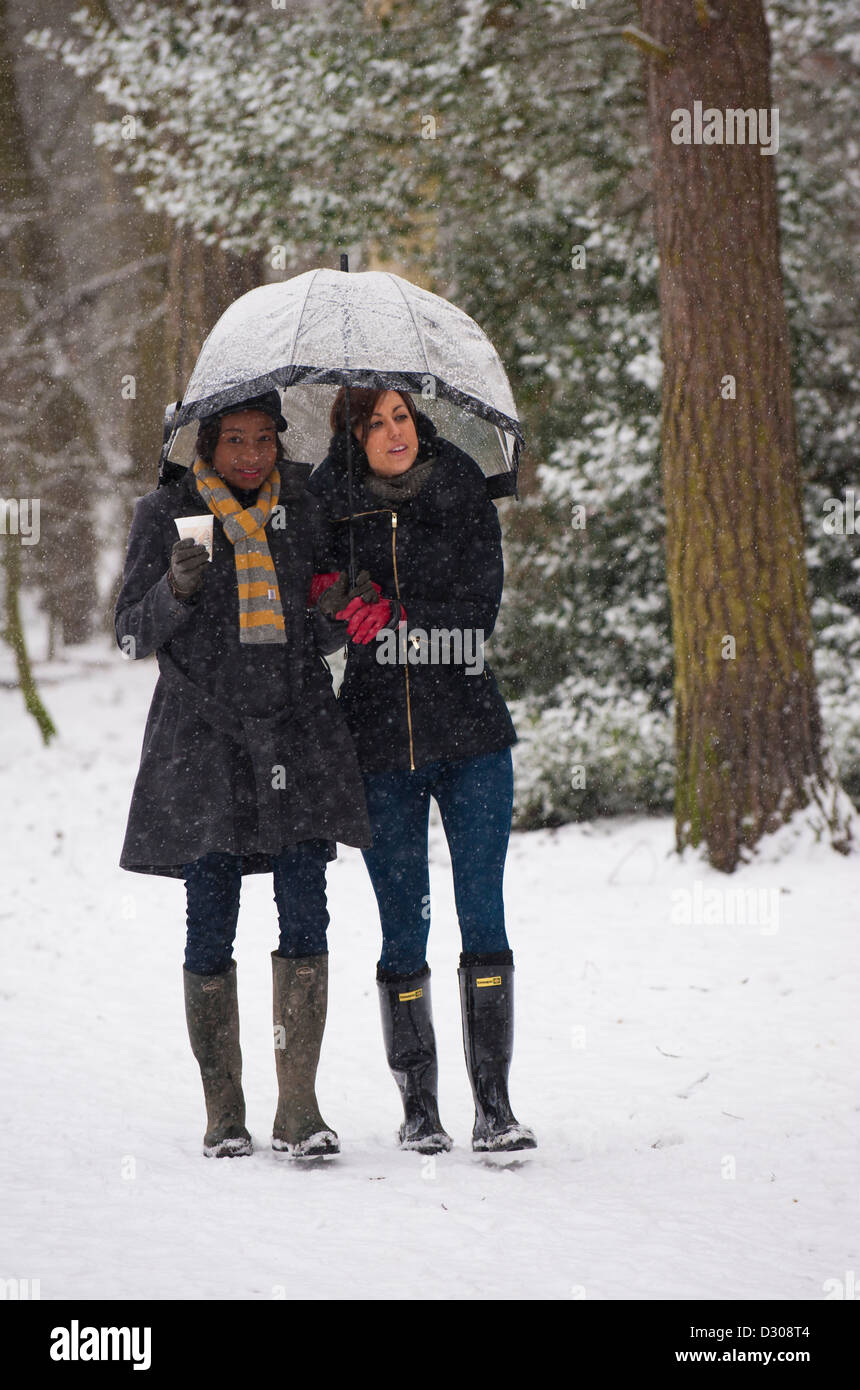 Winter walk - Two young women friends walking through a heavy snowfall in a park in winter, England, UK Stock Photo