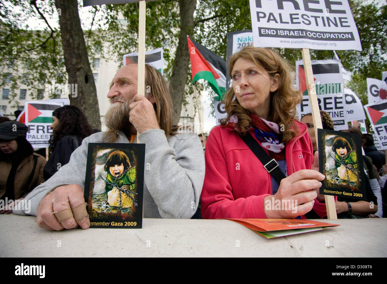 A pro Palestinian protest held outside Downing St in London. - Stock Image