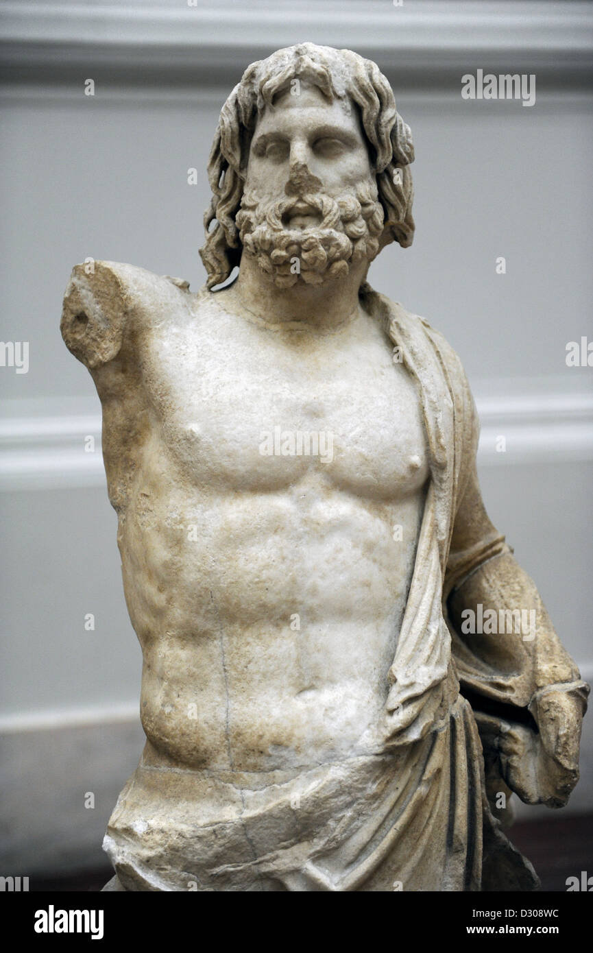 Greek art. Hellenistic period. 160 B.C. Poseidon from the Pergamon Altar terrasse. Marble. Pergamon Museum. Berlin. - Stock Image