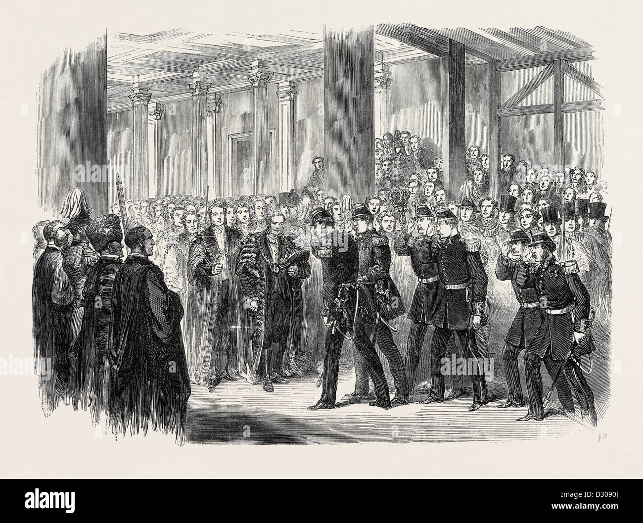 RECEPTION OF THE BELGIANS BY THE LORD MAYOR AT GUILDHALL LONDON UK 1867 - Stock Image