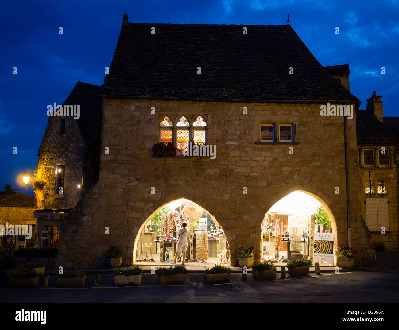 A medieval french house at Domme, Département Dordogne, Périgord, Southern France - Stock Image