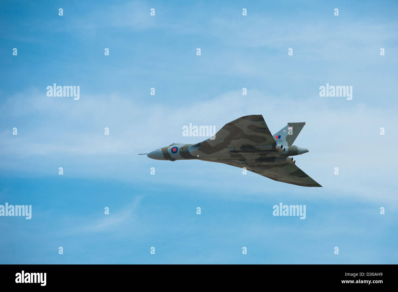 The beautiful Avro Vulcan bomber in flight following restoration. - Stock Image