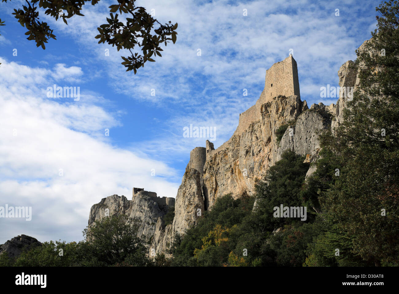 Peyrepertuse one of the Cathar Castles in the Pyrenees Mountains ...