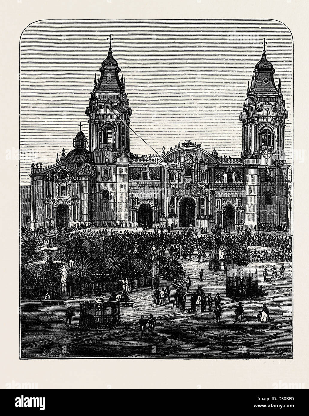 THE REVOLUTION IN PERU: HANGING THE BODIES OF THE BROTHERS GUTIERREZ UPON LIMA CATHEDRAL - Stock Image