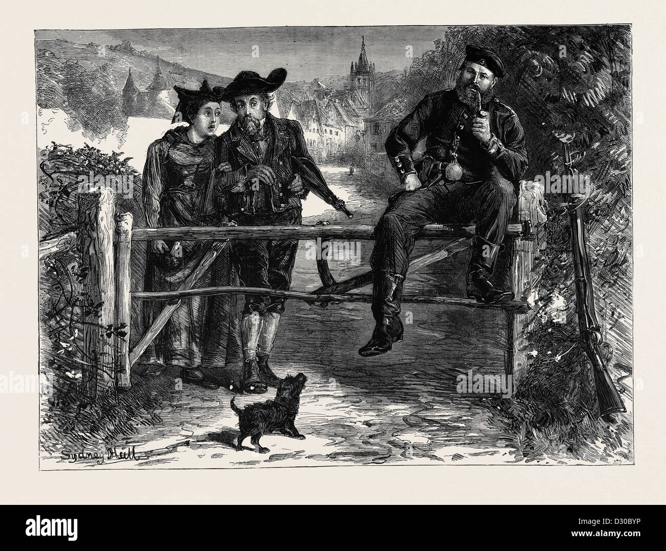 OVER THE OLD CAMPAIGNING GROUND, 'POSSESSION IS NINE POINTS OF THE LAW' - Stock Image