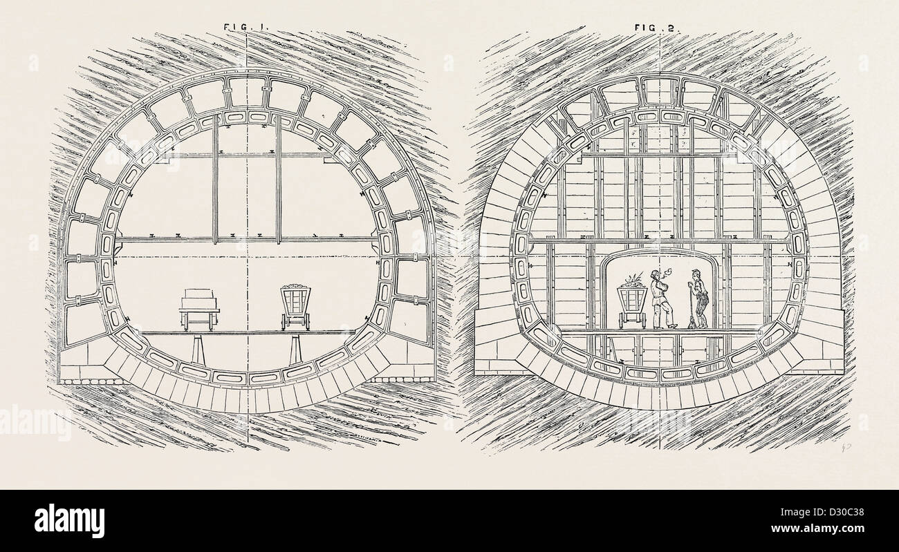 THE PARIS INTERNATIONAL EXHIBITION: SYSTEM OF TUNNELLING FRANCE 1867 - Stock Image