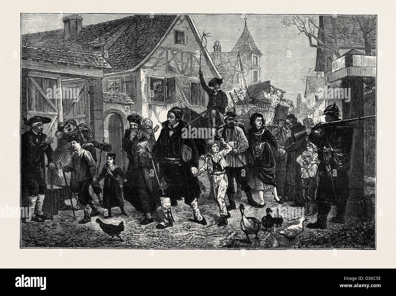 THE EXODUS FROM ALSACE, FROM THE PICTURE BY SCHUTZEMBERGER - Stock Image