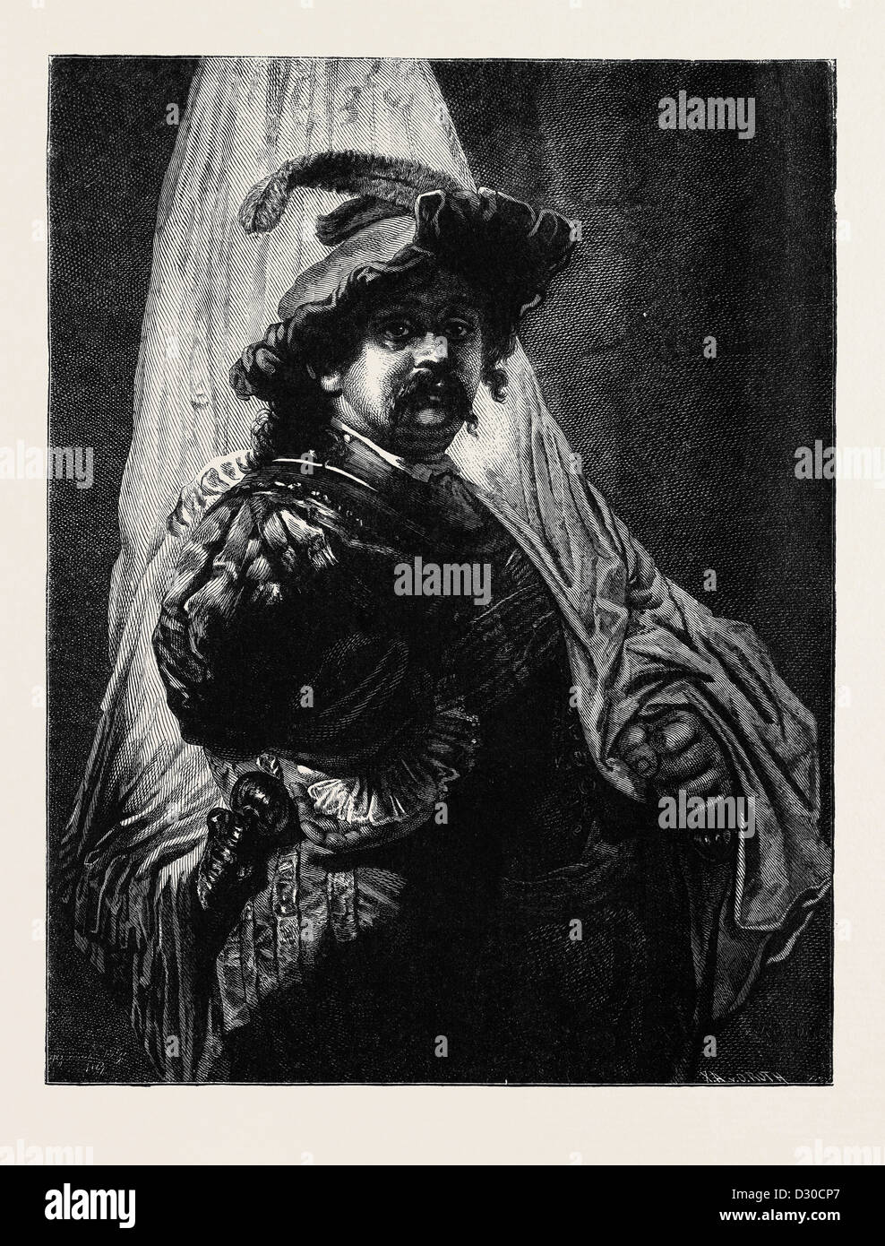 THE STANDARD BEARER, AFTER A PAINTING BY REMBRANDT - Stock Image
