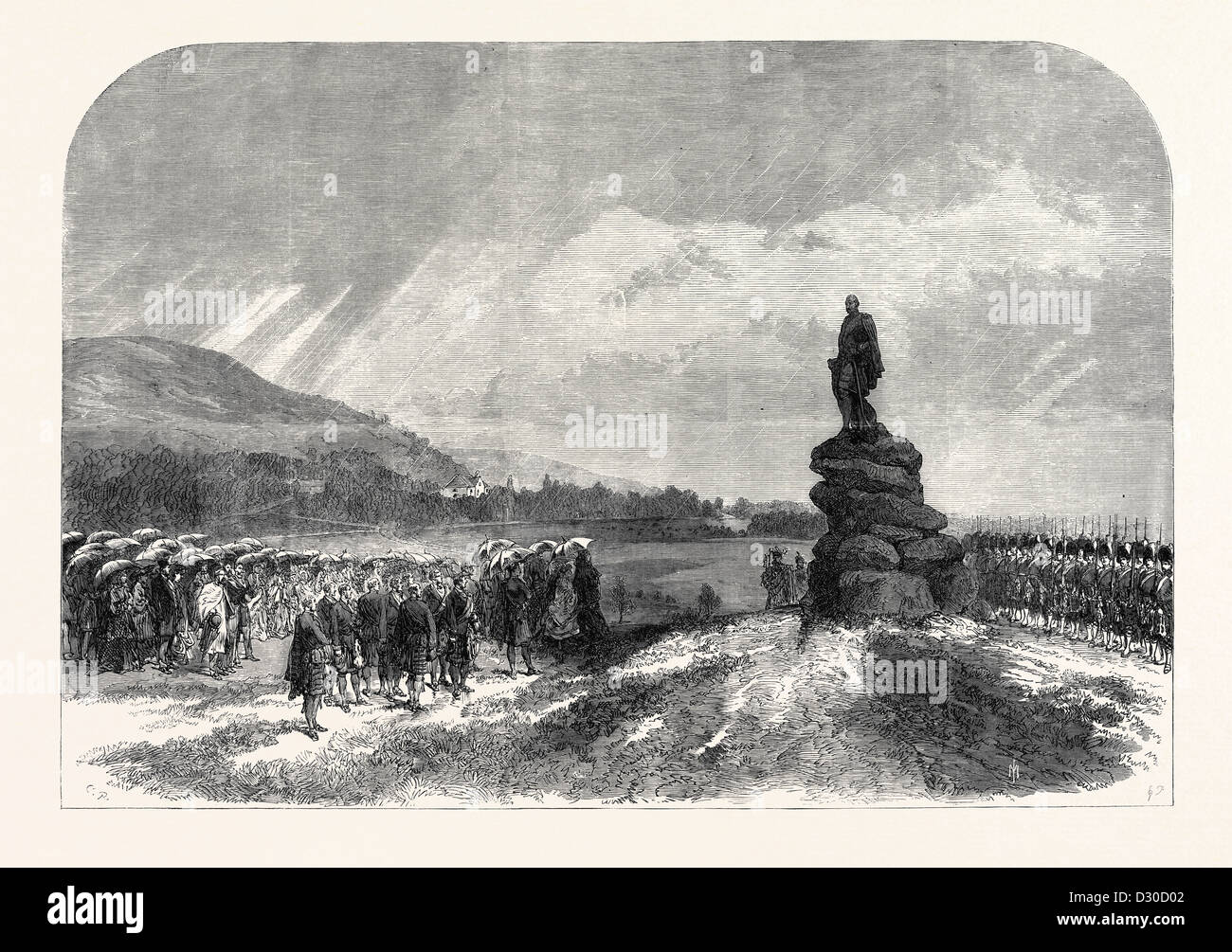 THE QUEEN UNCOVERING THE STATUE OF THE LATE PRINCE CONSORT AT BALMORAL 1867 - Stock Image