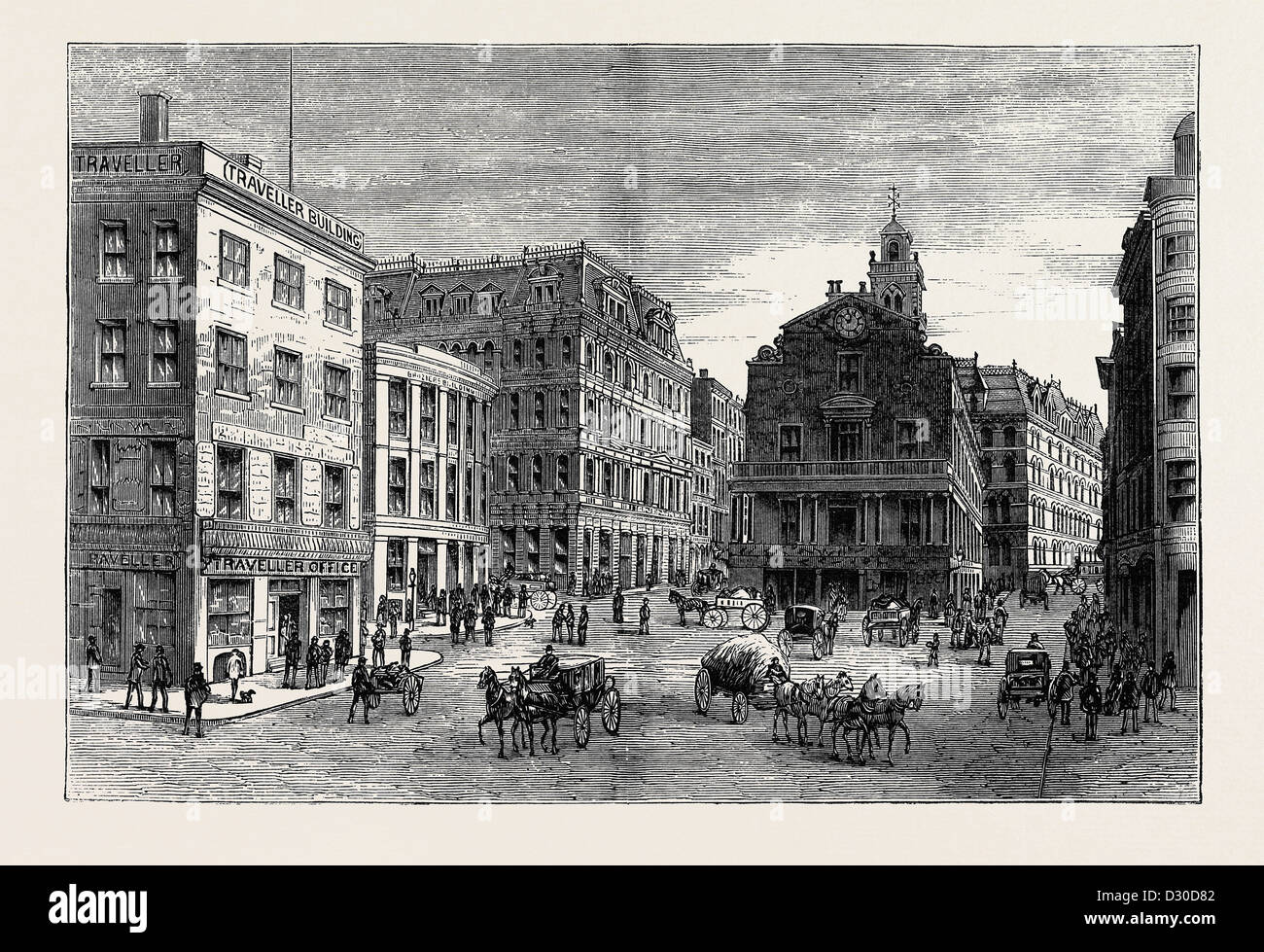 VIEWS AND PUBLIC BUILDINGS IN THE CITY OF BOSTON: VIEW AT THE HEAD OF STATE STREET - Stock Image