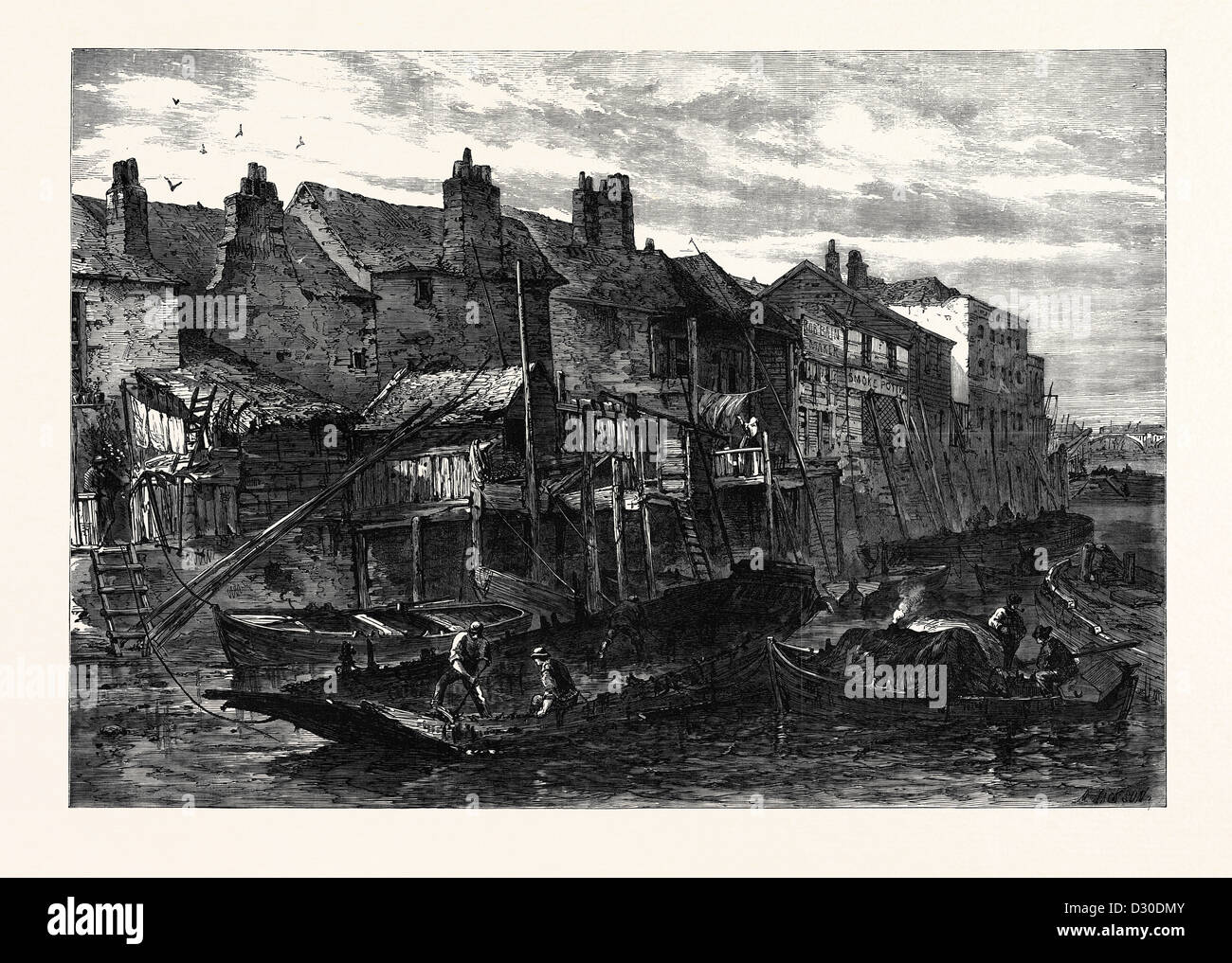 OLD HOUSES AT LAMBETH DEMOLISHED FOR THE SOUTHERN EMBANKMENT OF THE THAMES LONDON UK 1867 Stock Photo
