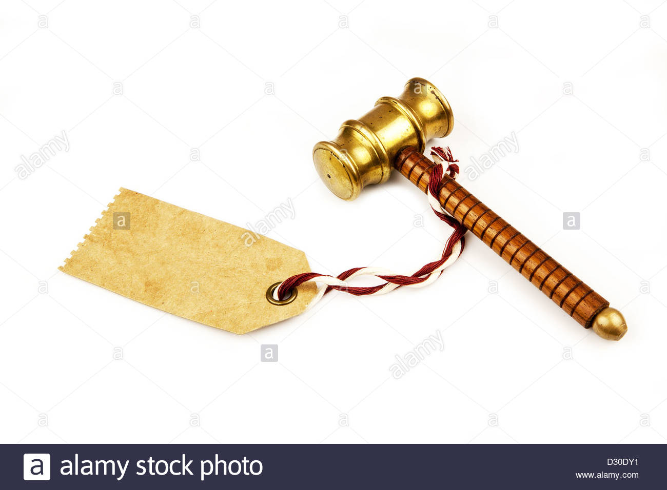 auctioneer hammer and label - Stock Image