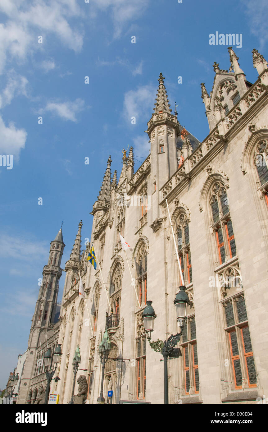 Architectural detail of the Provinciaal Hof in Grote Markt, Bruges Begium Stock Photo