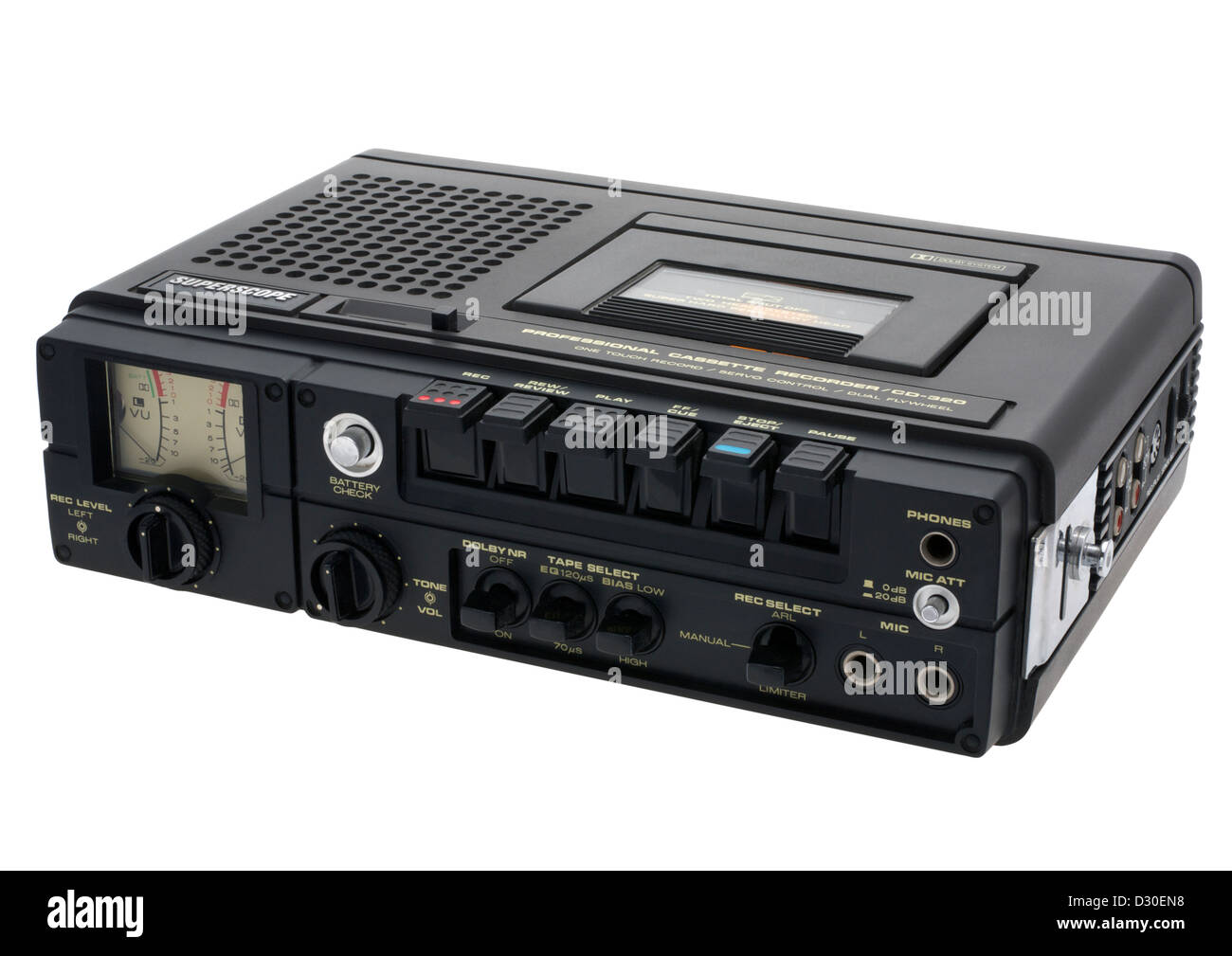Old professional cassette recorder on white background - Stock Image