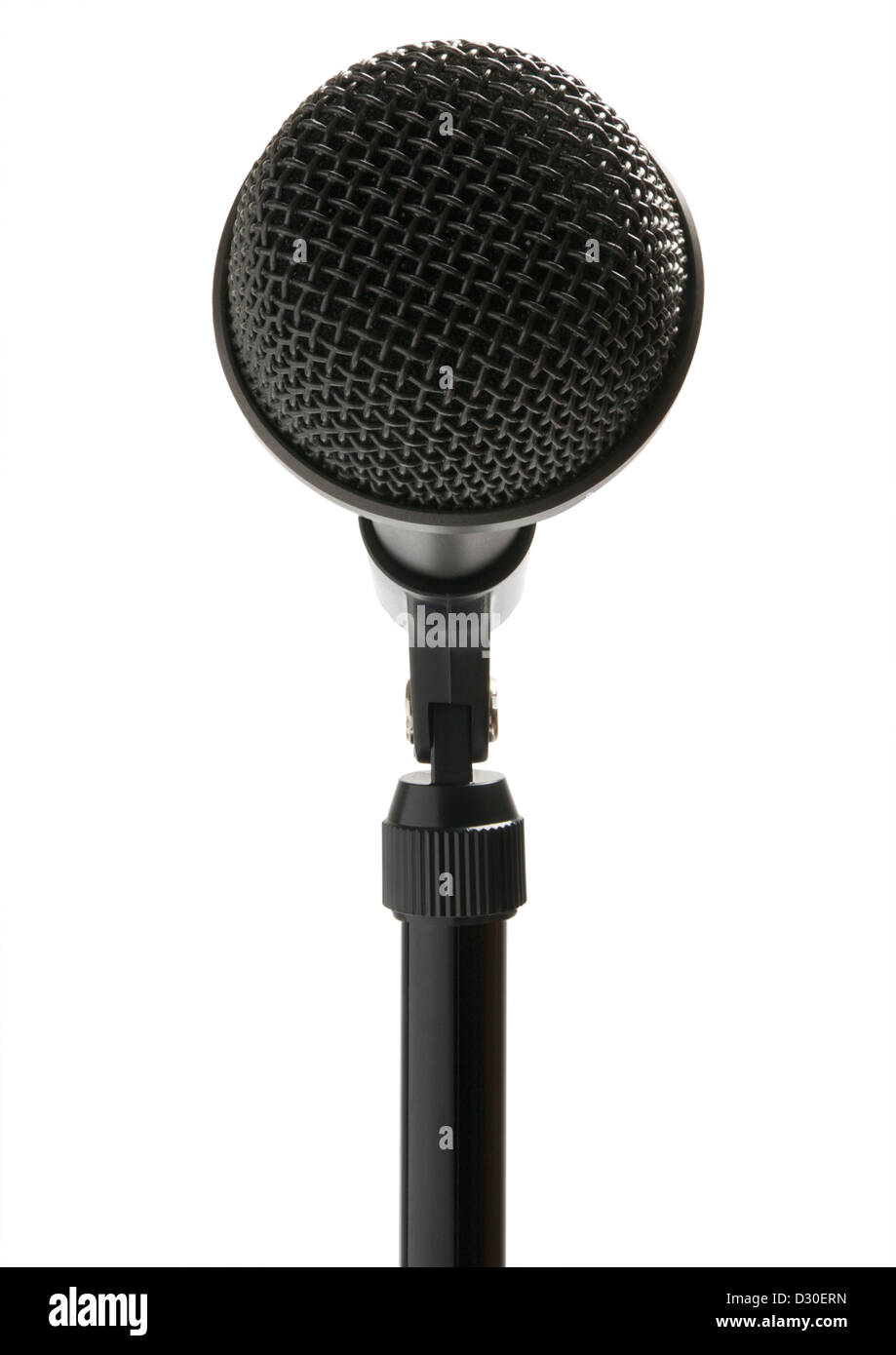 Microphone on stand on white background - Stock Image