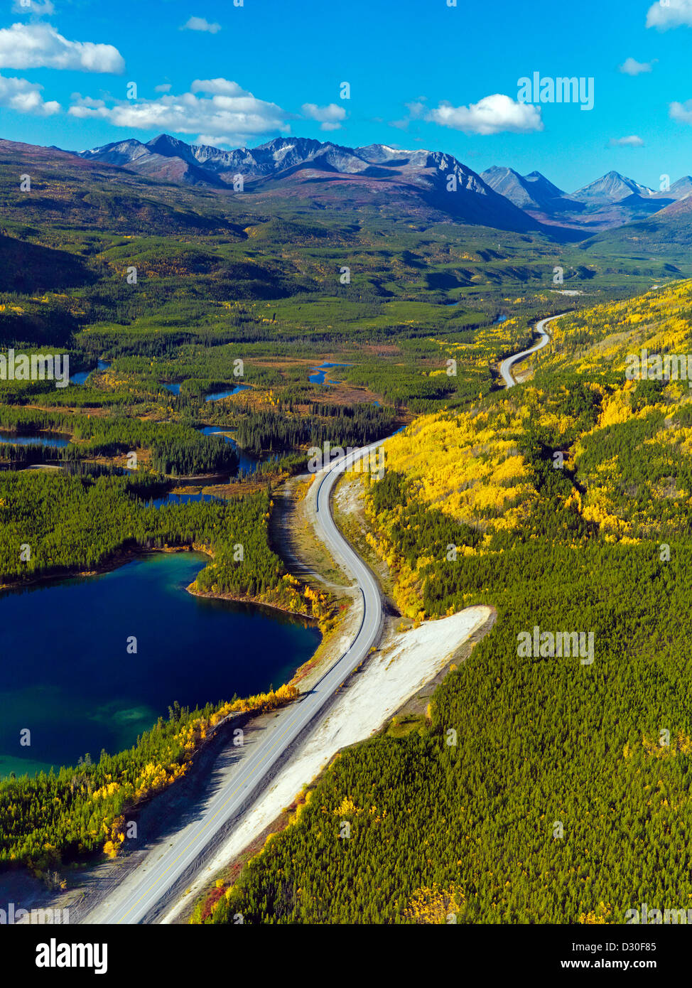 Driving the Alaska Highway up through the Yukon Territory in Canada in the fall makes for the experience of a lifetime! - Stock Image
