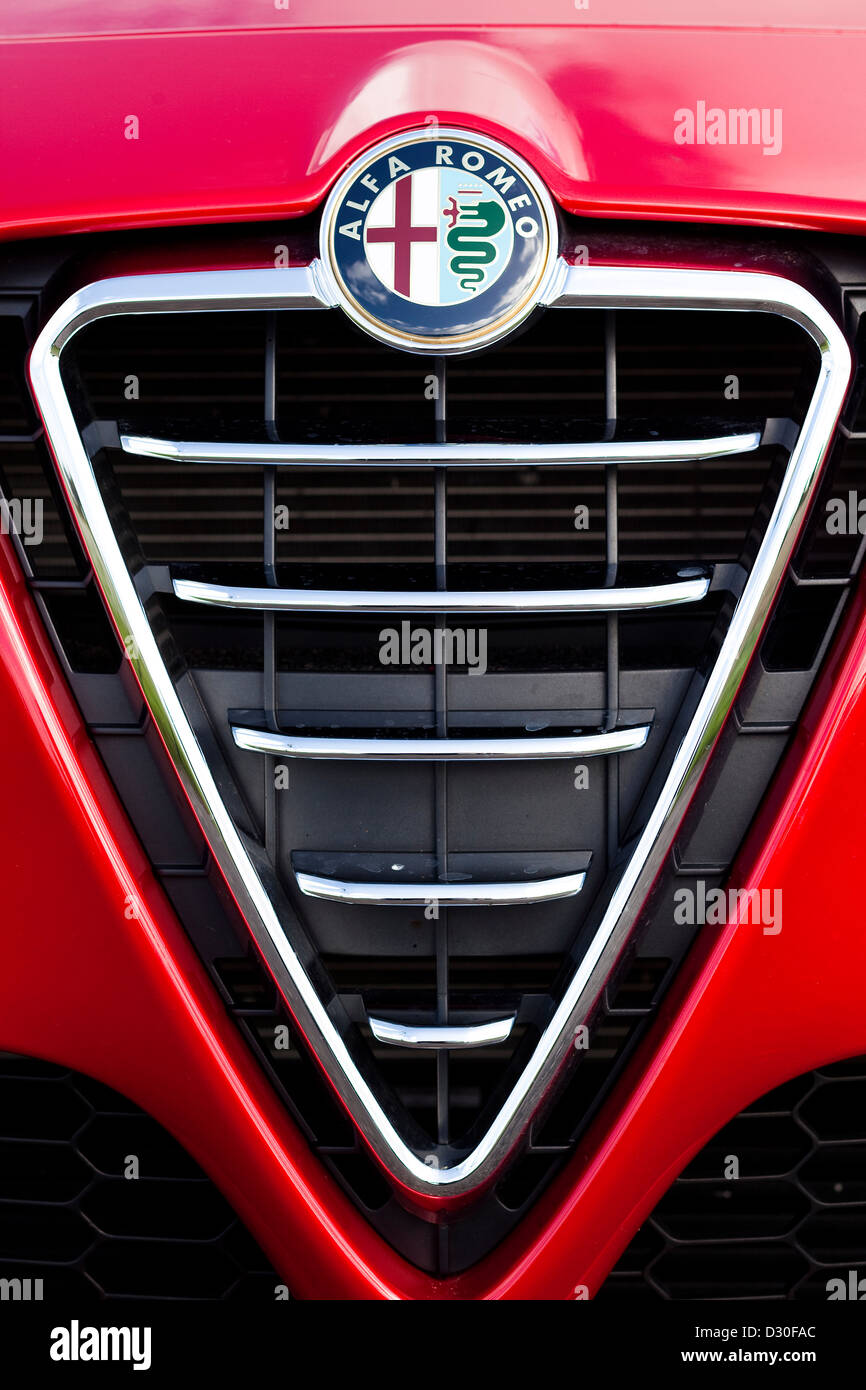 red alfa romeo giulietta logo winchester england uk stock photo 53487124 alamy. Black Bedroom Furniture Sets. Home Design Ideas