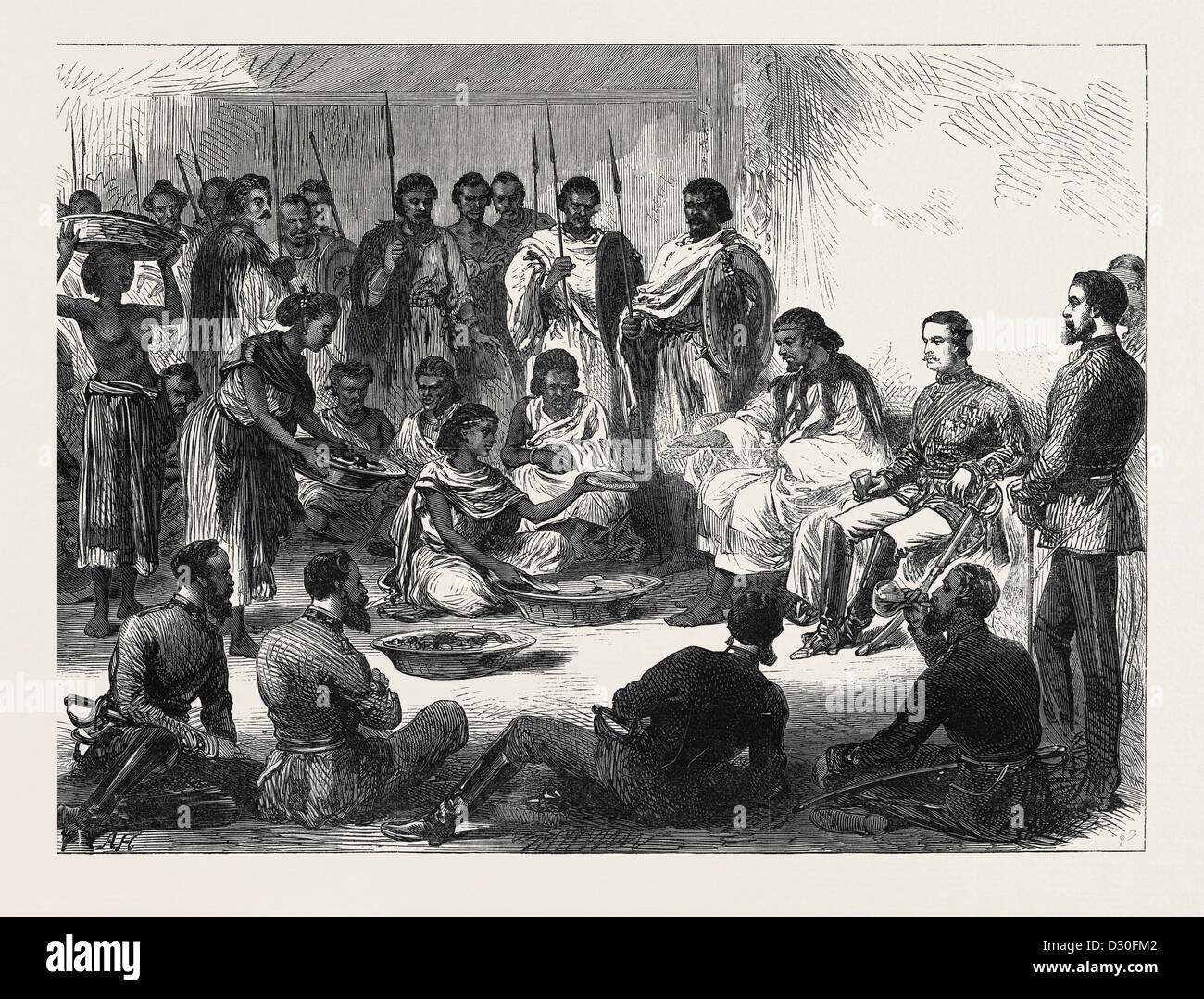 THE EXPEDITION TO ABYSSINIA: SIR ROBERT NAPIER ENTERTAINED BY THE PRINCE OF TIGRE 1868 - Stock Image