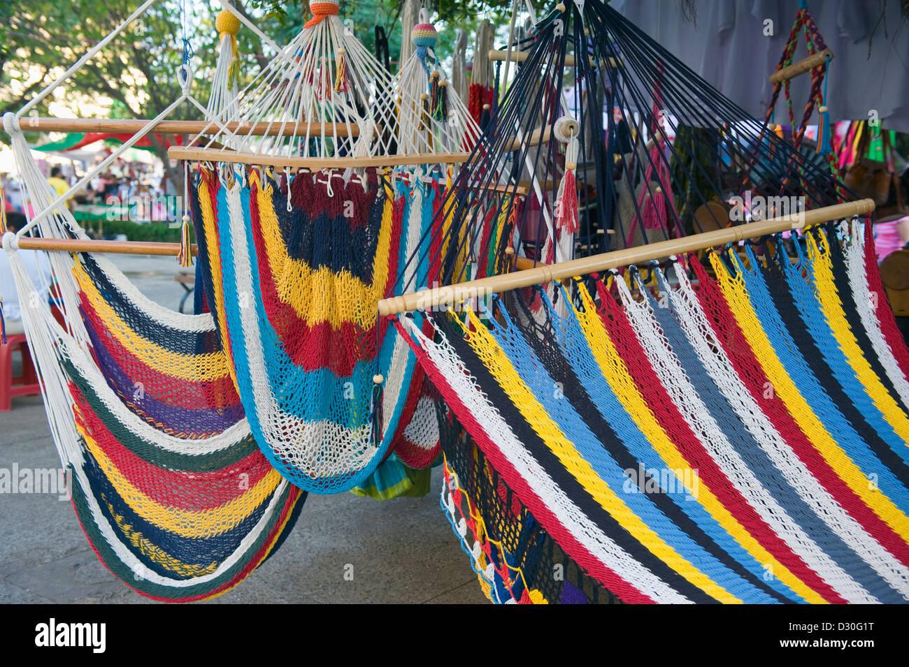 colorful hammocks, Leon, Nicaragua, Central America - Stock Image