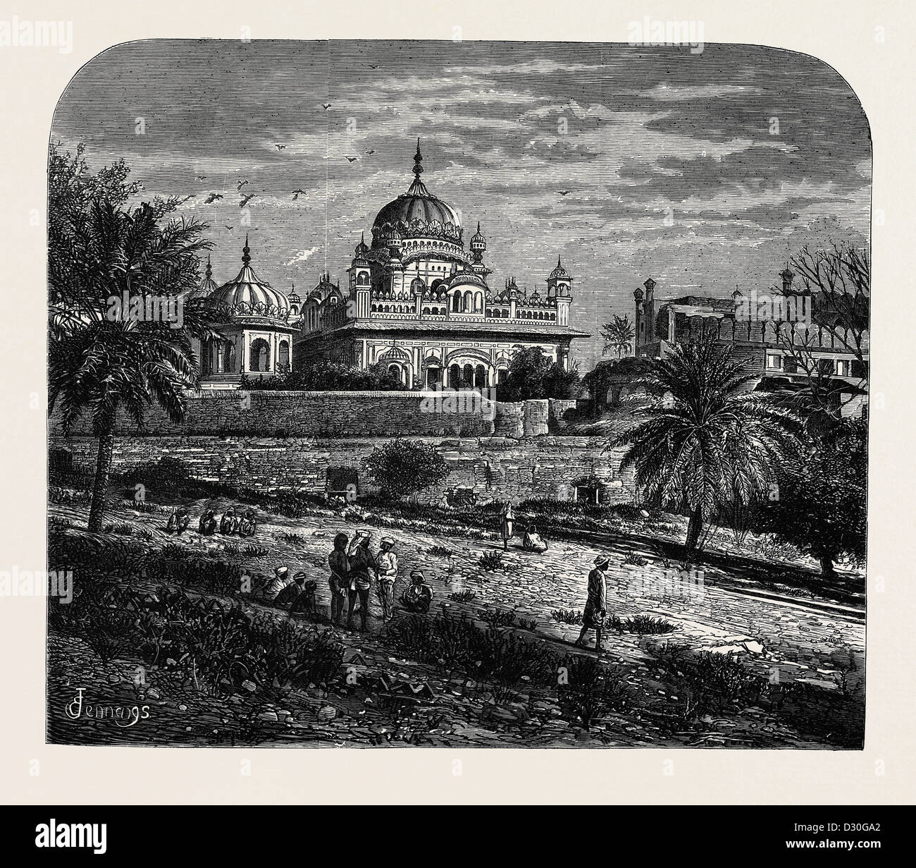 INDIAN SKETCHES: THE TOMB OF RUNJEET SINGH, FOUNDER OF THE SIKH EMPIRE - Stock Image