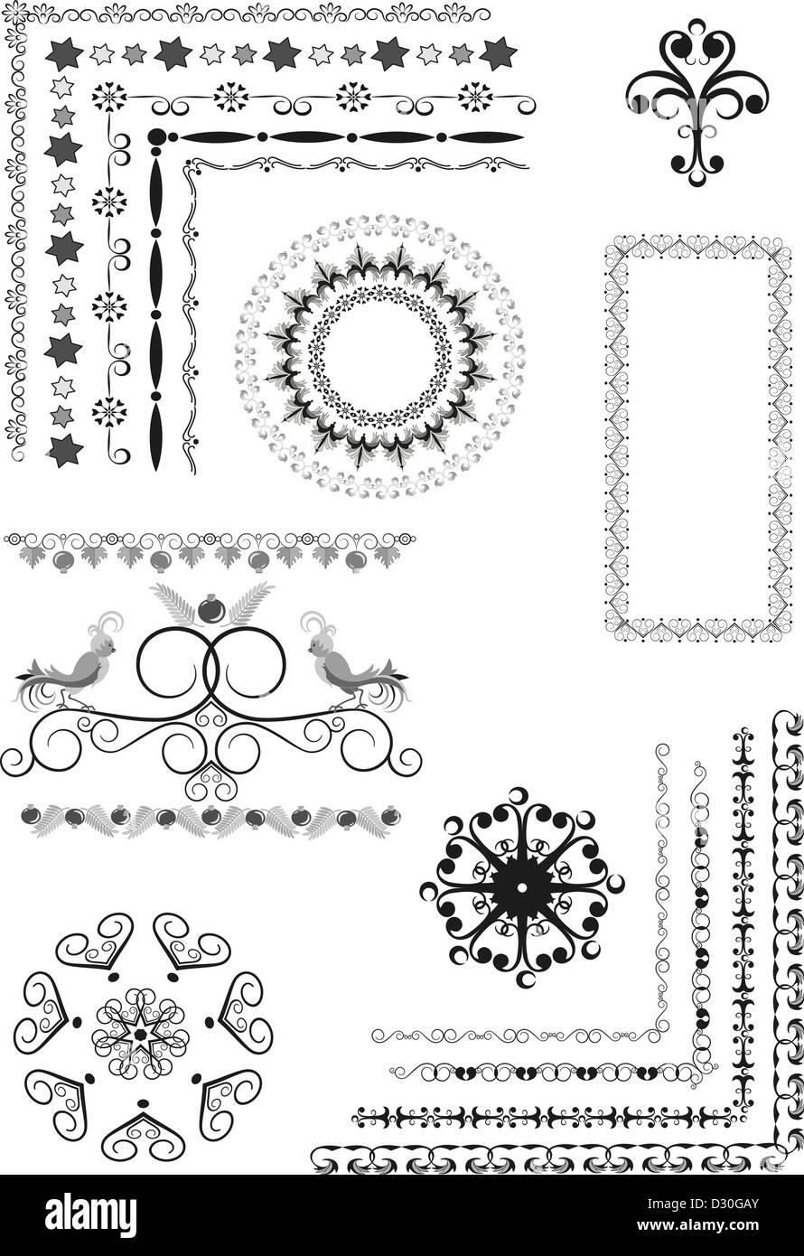 Decorative border, frame of ornament - Stock Image
