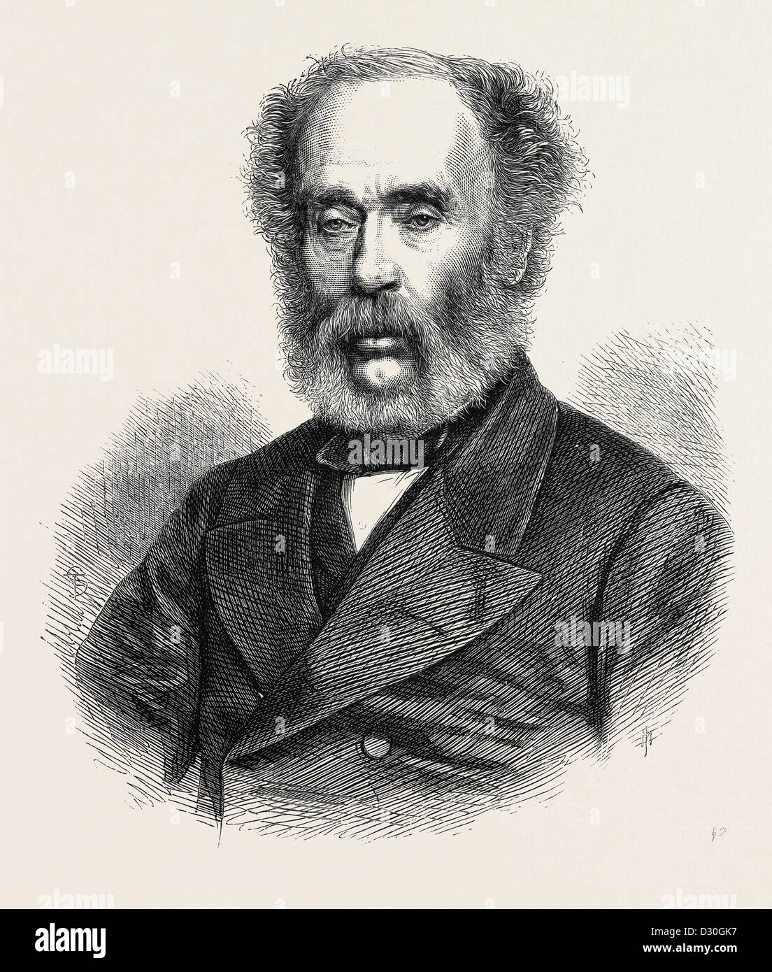 MR. JOSEPH WHITWORTH OF MANCHESTER. FOUNDER OF THE WHITWORTH SCHOLARSHIPS OF MECHANICAL SCIENCE 1868 - Stock Image
