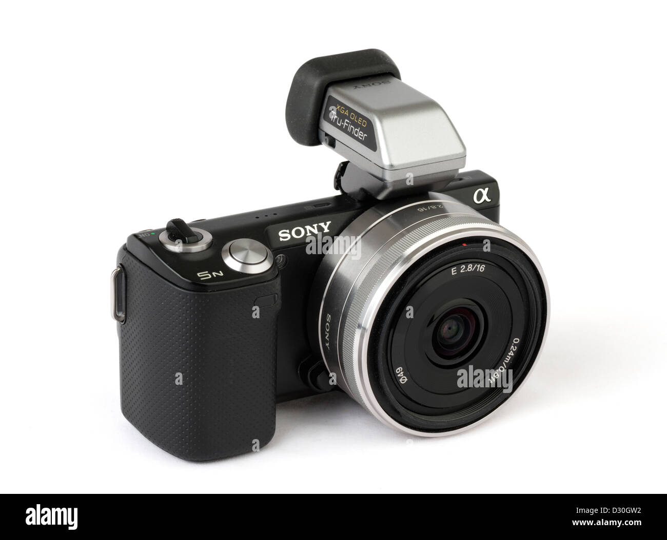Sony Alpha Nex 5N interchangeable lens mirrorless compact camera with OLED electronic viewfinder and 16mm pancake - Stock Image