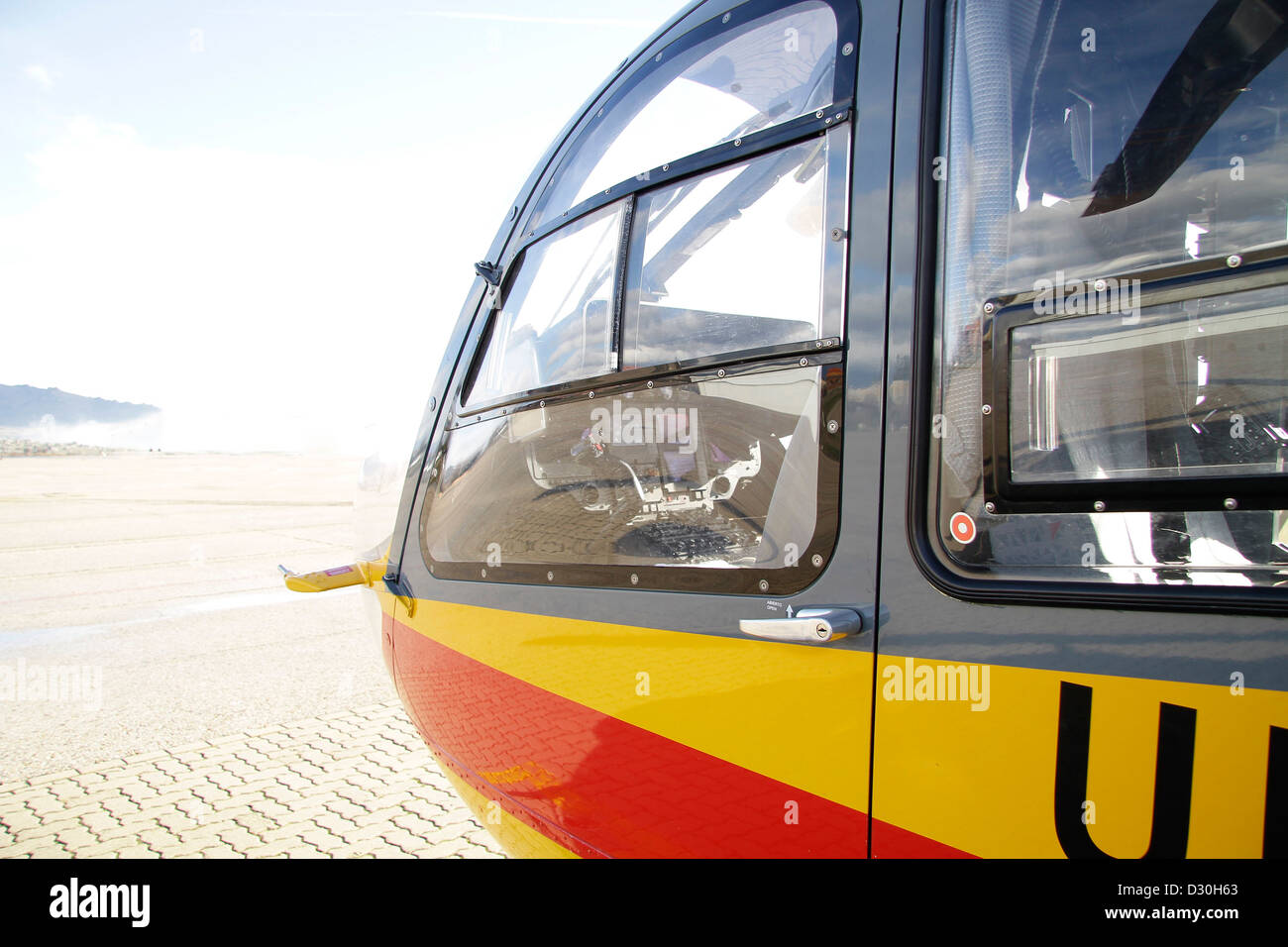 Closeup of the military helicopter cabin - Stock Image