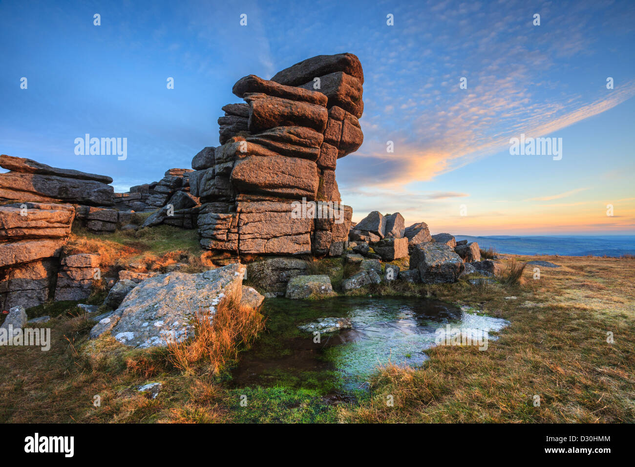 Great Staple Tor in the Dartmoor National Park, captured shortly before sunset on a winters afternoon. - Stock Image