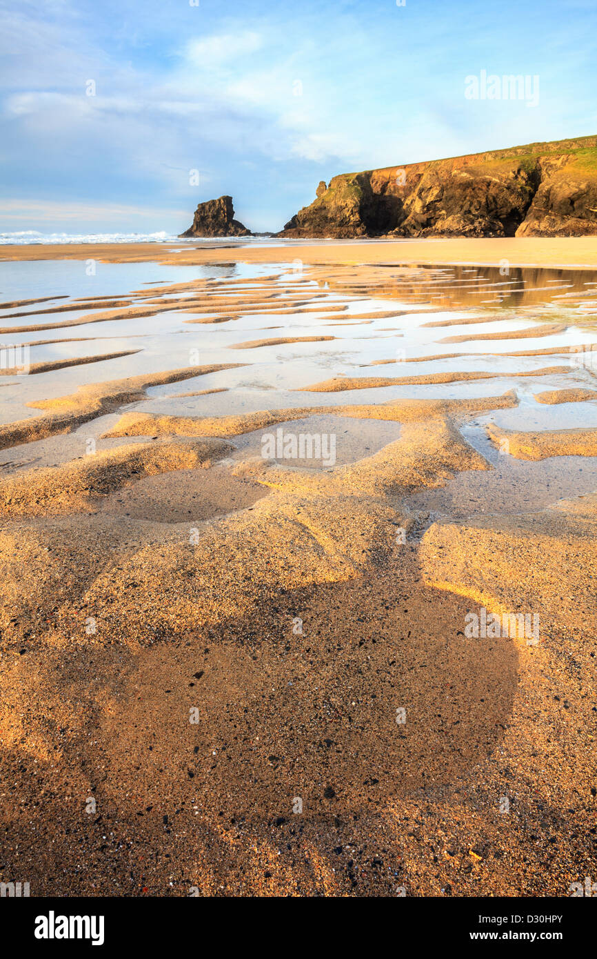 Sand patterns on the beach at Porthcothan in north Cornwall - Stock Image