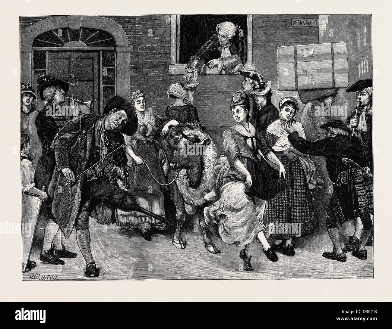 THE MILKMAIDS' MAY DAY IN THE OLDEN TIME - Stock Image