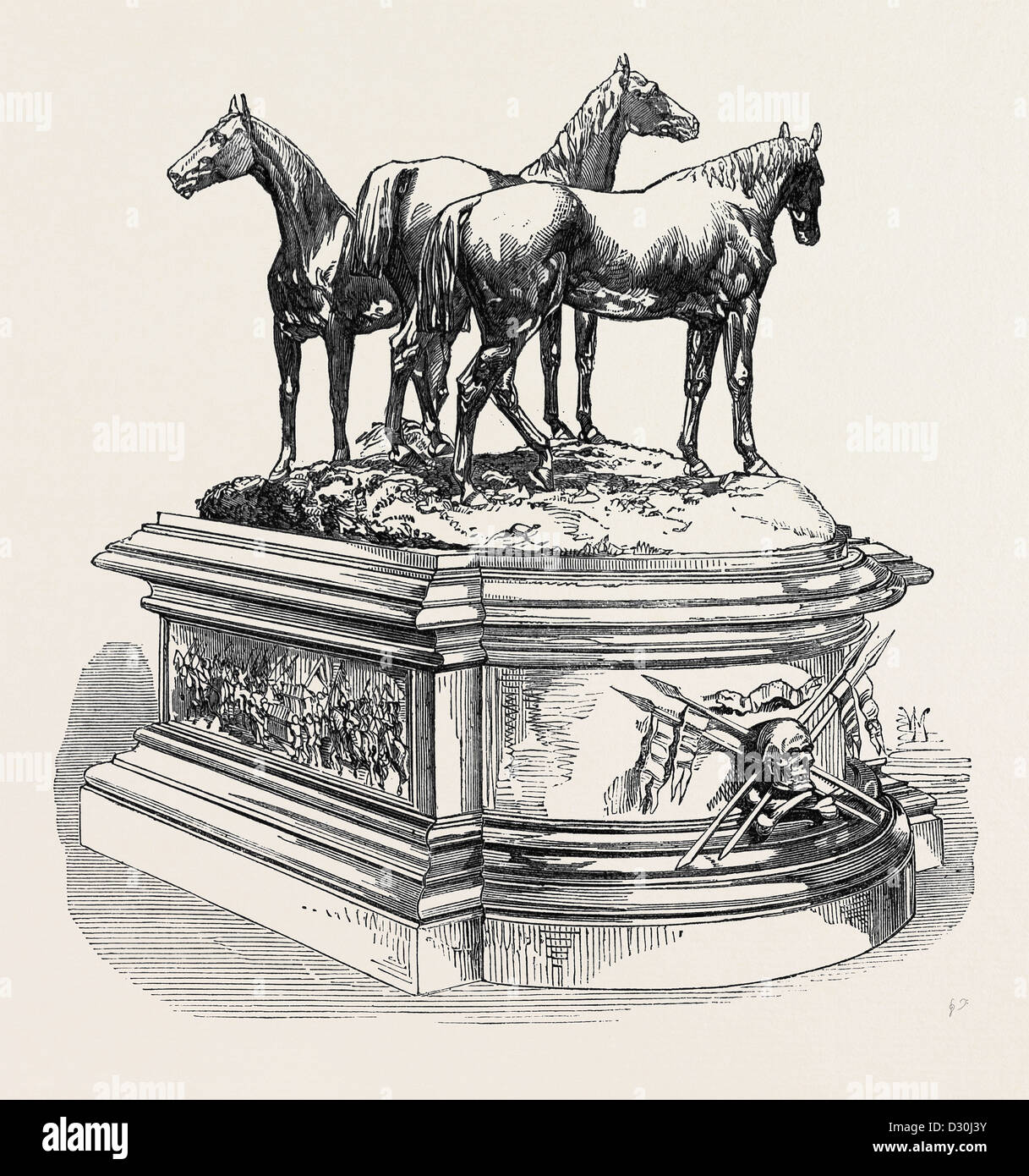 CENTRE ORNAMENT FOR THE MESS TABLE OF THE 17TH LANCERS 1869 - Stock Image