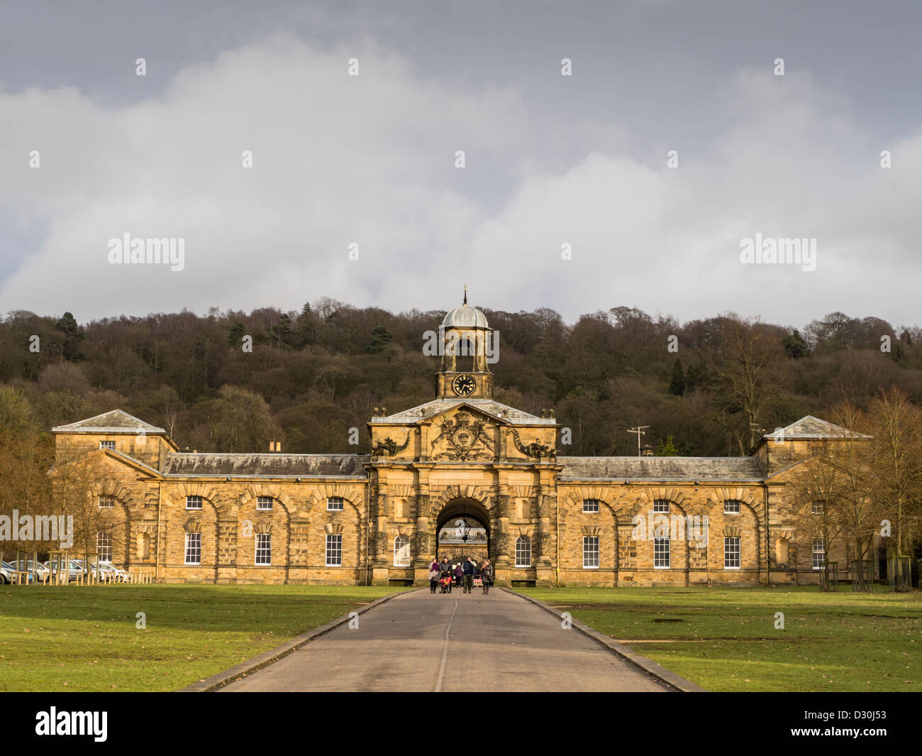 The Former Stables and courtyard at Chatsworth in the Derbyshire Peak District England - Stock Image