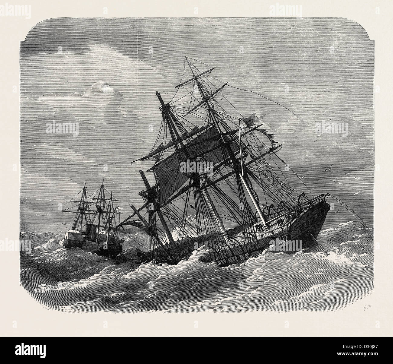 THE LATE COLLISION OFF THE LIZARD: H.M.S. TERRIBLE TOWING THE CALCUTTA INTO PLYMOUTH 1869 - Stock Image